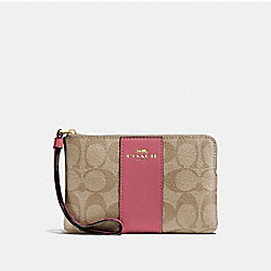 COACH F58035 Corner Zip Wristlet In Signature Canvas LIGHT KHAKI/ROUGE/GOLD