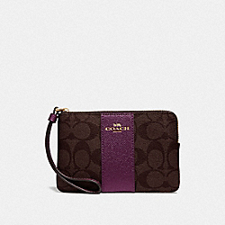 COACH F58035 Corner Zip Wristlet In Signature Canvas IM/BROWN METALLIC BERRY