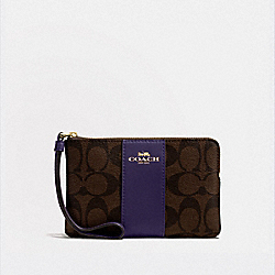 COACH F58035 Corner Zip Wristlet In Signature Canvas IM/BROWN DARK PURPLE