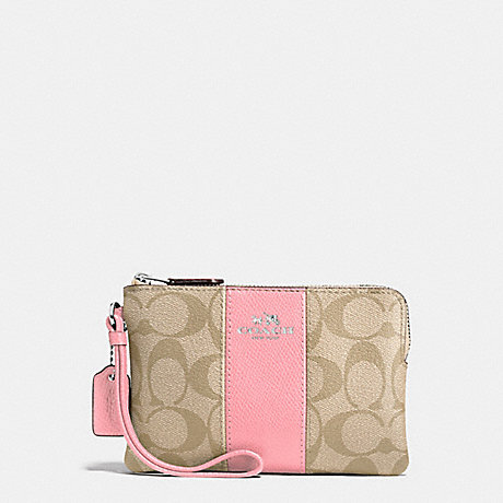 COACH f58035 CORNER ZIP WRISTLET IN SIGNATURE COATED CANVAS WITH LEATHER STRIPE SILVER/LIGHT KHAKI/BLUSH