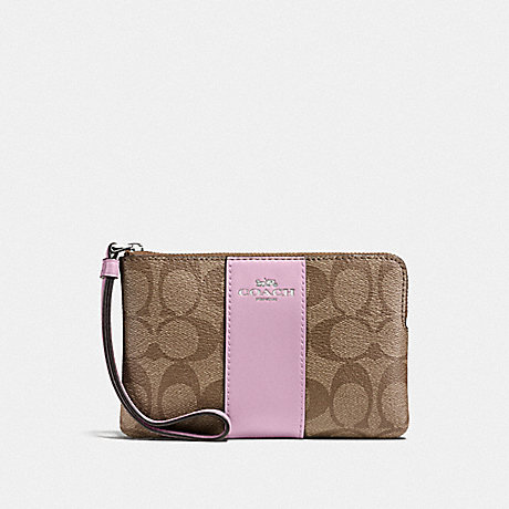 COACH F58035 CORNER ZIP WRISTLET IN SIGNATURE CANVAS KHAKI/LILAC/SILVER