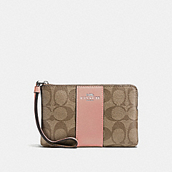 COACH F58035 Corner Zip Wristlet In Signature Canvas KHAKI/PETAL/SILVER