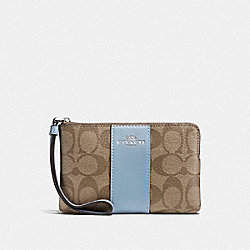 COACH F58035 Corner Zip Wristlet In Signature Canvas KHAKI/CORNFLOWER/SILVER