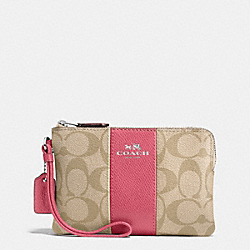 COACH F58035 Corner Zip Wristlet In Signature Coated Canvas With Leather Stripe SILVER/LIGHT KHAKI/STRAWBERRY