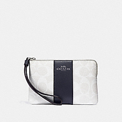 COACH F58035 Corner Zip Wristlet In Signature Canvas CHALK/MIDNIGHT/SILVER