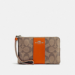 COACH F58035 Corner Zip Wristlet In Signature Canvas KHAKI/ORANGE RED/SILVER