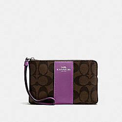 COACH F58035 Corner Zip Wristlet In Signature Canvas BROWN/AZALEA/SILVER