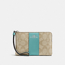 COACH F58035 Corner Zip Wristlet In Signature Canvas SVNKA