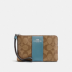 COACH F58035 Corner Zip Wristlet In Signature Canvas KHAKI/CYAN/SILVER