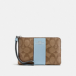 COACH F58035 Corner Zip Wristlet In Signature Canvas KHAKI/PALE BLUE/SILVER