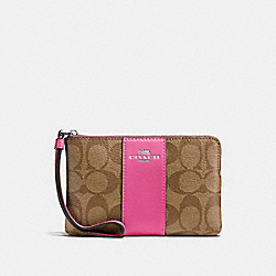 COACH F58035 Corner Zip Wristlet In Signature Canvas KHAKI/CERISE/SILVER