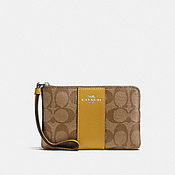 COACH F58035 Corner Zip Wristlet In Signature Canvas KHAKI FLAX/SILVER