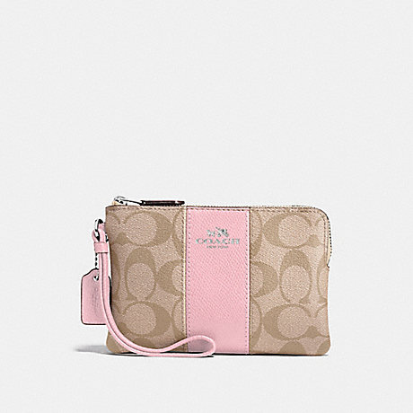 COACH F58035 CORNER ZIP WRISTLET IN SIGNATURE CANVAS LIGHT KHAKI/CARNATION/SILVER