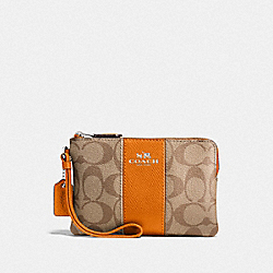 COACH F58035 Corner Zip Wristlet In Signature Canvas KHAKI/DARK ORANGE/SILVER
