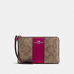 COACH F58035 Corner Zip Wristlet In Signature Canvas SV/KHAKI DARK FUCHSIA