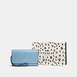 COACH F58039 - BOXED PHONE CLUTCH SV/CORNFLOWER