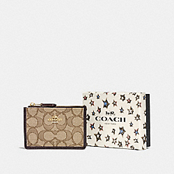 COACH F58040 Boxed Mini Skinny Id Case In Signature Jacquard LI/KHAKI/BROWN