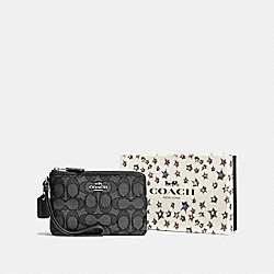 COACH F58041 Boxed Small Wristlet In Signature Jacquard SV/BLACK SMOKE/BLACK