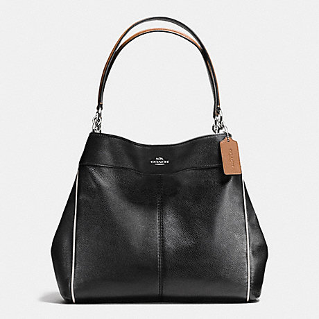 COACH f58044 LEXY SHOULDER BAG WITH CONTRAST TRIM IN PEBBLE LEATHER SILVER/BLACK MULTI