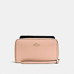 COACH F58053 Phone Wallet In Crossgrain Leather IMITATION GOLD/NUDE PINK