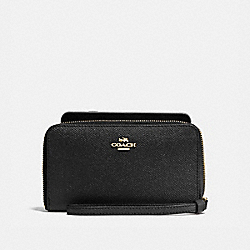 COACH F58053 Phone Wallet In Crossgrain Leather IMITATION GOLD/BLACK