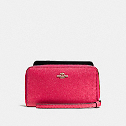 COACH F58053 Phone Wallet In Crossgrain Leather IMITATION GOLD/BRIGHT PINK
