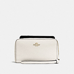COACH F58053 Phone Wallet In Crossgrain Leather IMITATION GOLD/CHALK