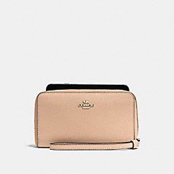 COACH F58053 Phone Wallet In Crossgrain Leather IMITATION GOLD/BEECHWOOD