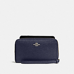 COACH F58053 Phone Wallet In Crossgrain Leather IMITATION GOLD/MIDNIGHT