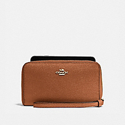 COACH F58053 Phone Wallet In Crossgrain Leather IMITATION GOLD/SADDLE