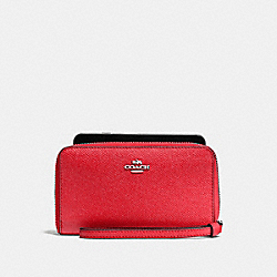COACH F58053 Phone Wallet In Crossgrain Leather SILVER/BRIGHT RED