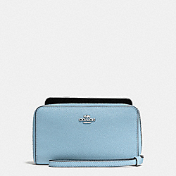 COACH F58053 Phone Wallet In Crossgrain Leather SILVER/CORNFLOWER