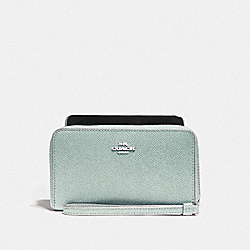 COACH F58053 Phone Wallet SILVER/SEA GREEN