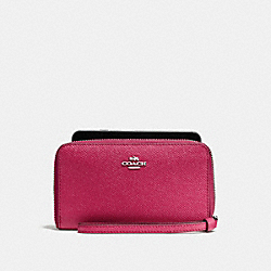 COACH F58053 Phone Wallet SILVER/HOT PINK