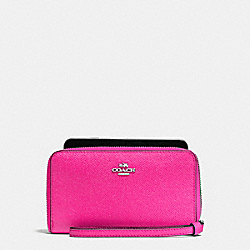 COACH F58053 Phone Wallet In Crossgrain Leather SILVER/BRIGHT FUCHSIA