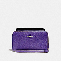 COACH F58053 - PHONE WALLET IN CROSSGRAIN LEATHER SILVER/PURPLE