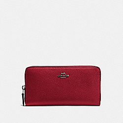COACH F58059 Accordion Zip Wallet CHERRY/DARK GUNMETAL