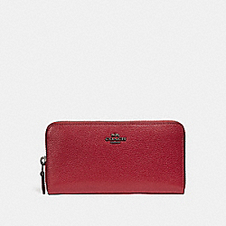 COACH F58059 Accordion Zip Wallet WASHED RED/DARK GUNMETAL
