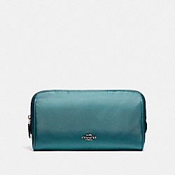COACH F58064 - COSMETIC CASE 22 IN NYLON BLACK ANTIQUE NICKEL/DARK TEAL