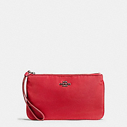 COACH F58068 Large Wristlet In Nylon BLACK ANTIQUE NICKEL/TRUE RED