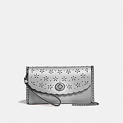 COACH F58072 Chain Crossbody METALLIC SILVER/CORNFLOWER/SILVER