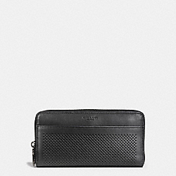 ACCORDION WALLET IN PERFORATED LEATHER - f58104 - BLACK