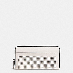 ACCORDION WALLET IN PERFORATED LEATHER - f58104 - CHALK/BLACK