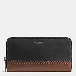 COACH ACCORDION WALLET IN BASEBALL STITCH LEATHER - FOG/DARK SADDLE - F58105