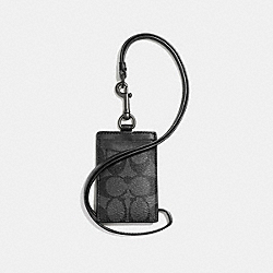 COACH F58106 Id Lanyard In Signature CHARCOAL/BLACK