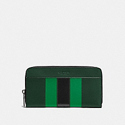 ACCORDION WALLET IN VARSITY LEATHER - f58109 - PALM/PINE/BLACK