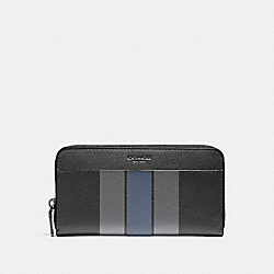 COACH F58109 Accordion Wallet In Varsity Leather BLACK/GRAPHITE/DARK DENIM