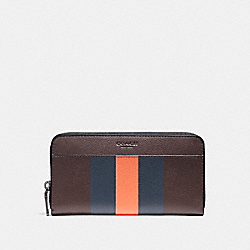 ACCORDION WALLET IN VARSITY LEATHER - f58109 - OXBLOOD/MIDNIGHT NAVY/CORAL