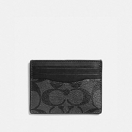 COACH f58110 SLIM CARD CASE CHARCOAL/BLACK