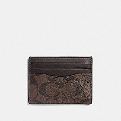 SLIM CARD CASE - f58110 - MAHOGANY/BROWN